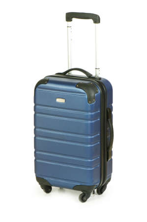 packing suitcase: Blue case isolated on the white background