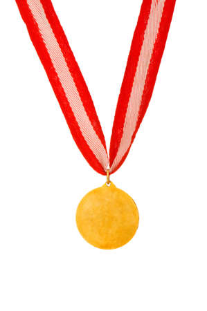 Golden medal isolated on the white background photo