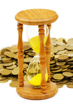 Time is money concept - hourglass and coins Stock Photo - 5977220
