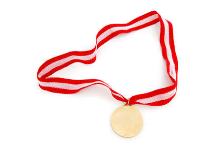 Golden medal isolated on the white background Stock Photo - 6040334