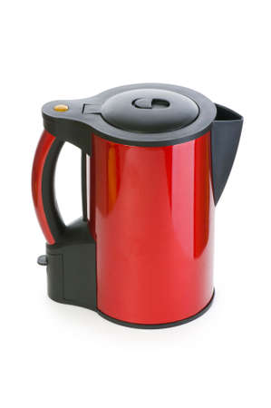 Red electrical kettle isolated on white Stock Photo - 6040201
