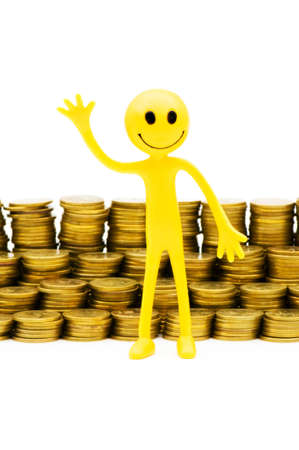 Smiley and coins isolated on the white photo