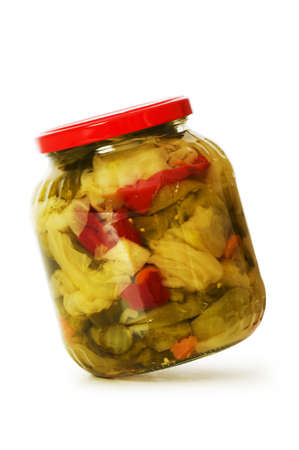 gherkins: Pickels jar isolated on the white background