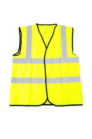 Gelbe Vest auf dem weißen Hintergrund isoliert Standard-Bild