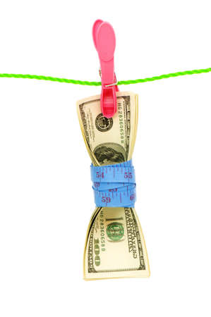 Money laundering concept with dollars on the rope photo