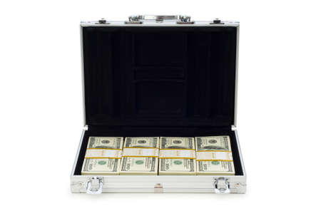 Metal case and lots of dollars on white Stock Photo - 6256116