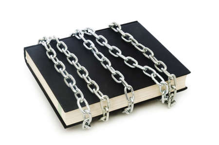 Censorship concept with books and chains on white Stock Photo - 6255947