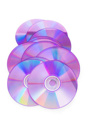 dvds: Many DVDs isolated on the white background Stock Photo
