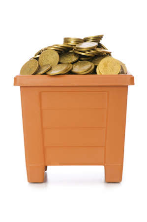 Many coins in the clay pot on white photo