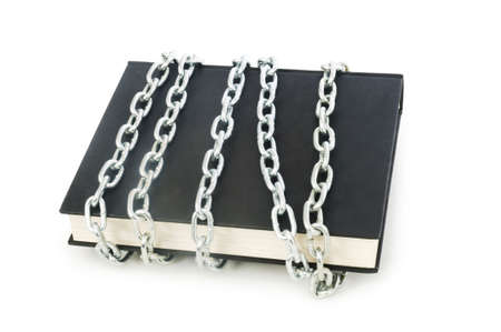 Censorship concept with books and chains on white Stock Photo - 6276831
