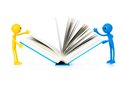 tabassum: Education concept - books and smilie on white