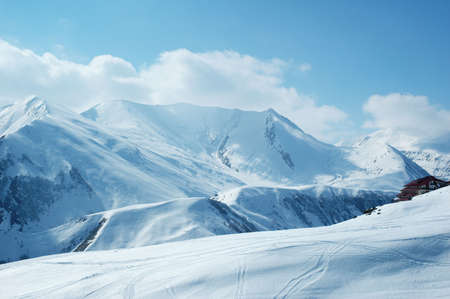 the frosty: High mountains under snow in the winter Stock Photo