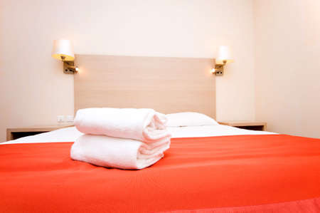 Double bed in the hotel room Stock Photo - 6313897