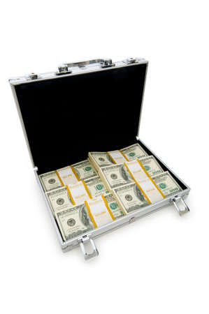 Money in the case isolated on white photo