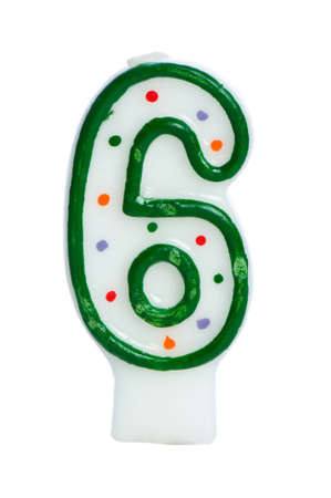 six: Birthday candles isolated on the white background