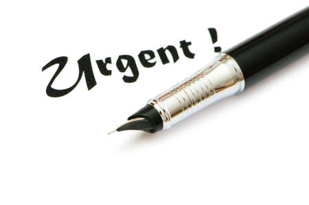 expedient: Golden pen and urgent message isolated on white