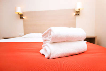 Double bed in the hotel room Stock Photo - 6458118