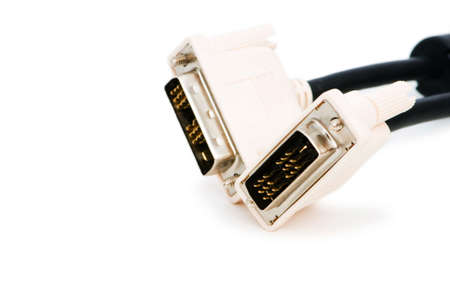dvi: DVI cable isolated on the white background Stock Photo
