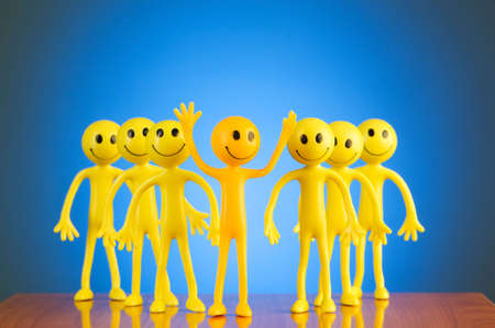 tabassum: Leadership concept with smilies against gradient background Stock Photo