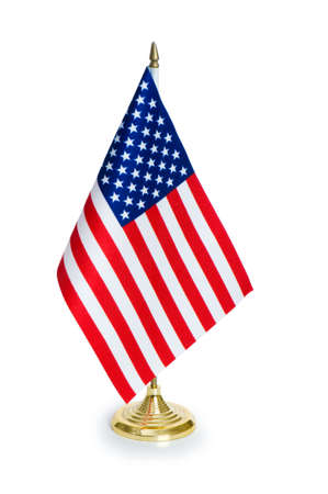 small world: USA flag isolated on the white background Stock Photo