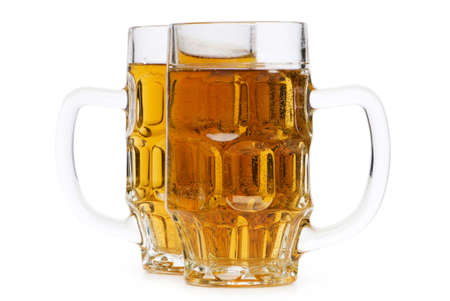 Beer glasses isolated on the white background photo