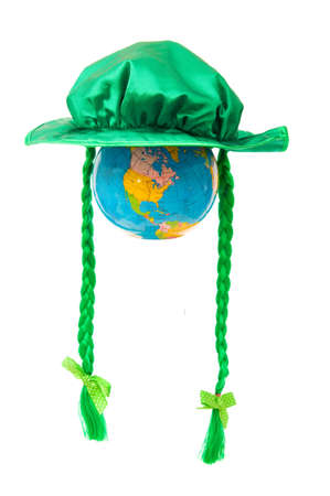 St Patrick day concept with green hat and globe on white Stock Photo - 6581471