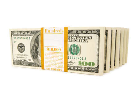 Stack of dollars isolated on the white Stock Photo - 6623395