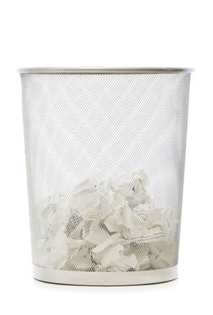 wastepaper basket: Garbage bin with paper waste isolated on white
