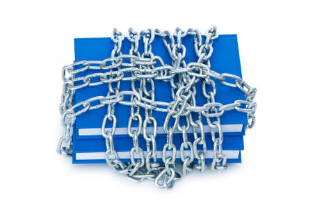 Censorship concept with books and chains on white Stock Photo - 6622897
