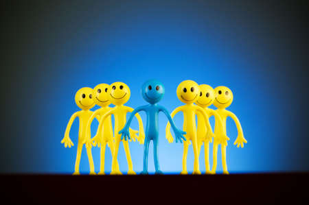 Leadership concept with smilies against gradient background photo