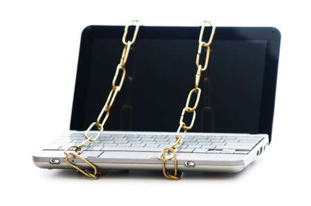 Concept of computer security with laptop and chain Stock Photo - 6709233