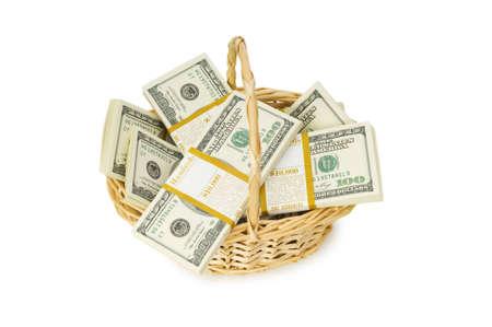 inflation basket: Cesta llena de d�lares aislados en blanco