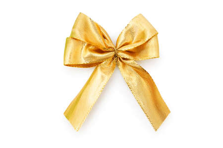 golden ribbon: Ribbon bow isolated on the white background Stock Photo