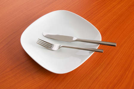 Set of utensils arranged on the table photo
