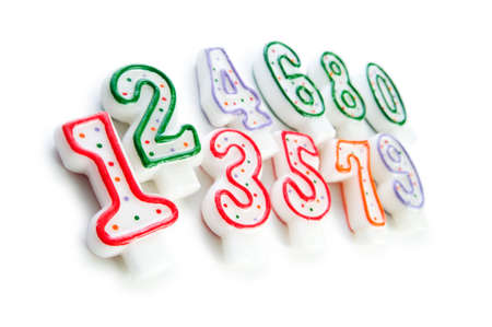 7 8: Birthday candles isolated on the white background