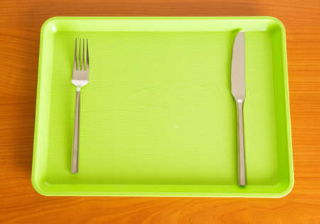lunch tray: Set of utensils arranged on the table Stock Photo