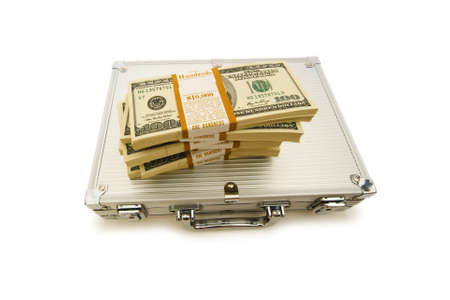 Metal case and lots of dollars on white photo