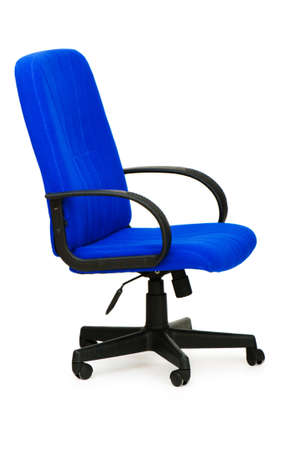 armrest: Blue office chair isolated on the white Stock Photo