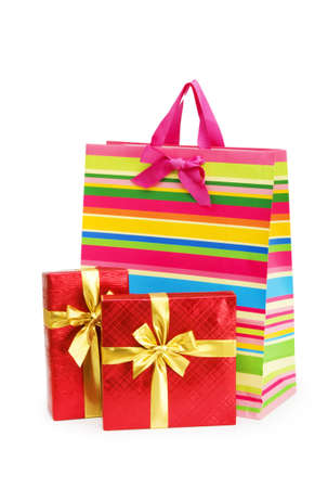 Striped gift bag isolated on the white background Stock Photo - 7045799