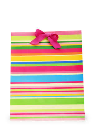 Striped gift bag isolated on the white background Stock Photo - 7084529