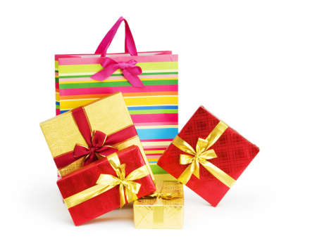 Striped gift bag isolated on the white background photo