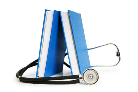 textbooks: Concept of medical education with book and stethoscope