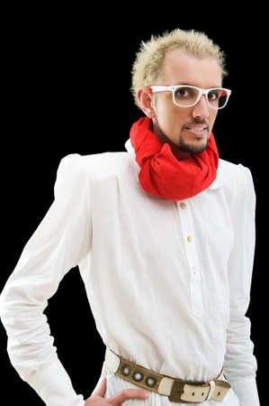 Man with red scarf on the black Stock Photo - 7095784
