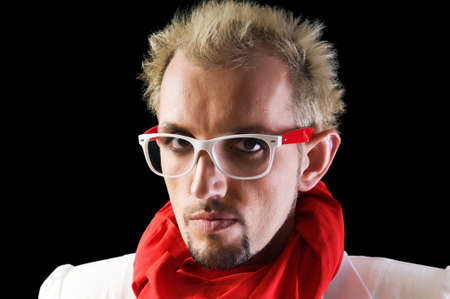 Man with red scarf on the black Stock Photo - 7095783