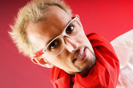 Man with red scarf against coloured background Stock Photo - 7095831