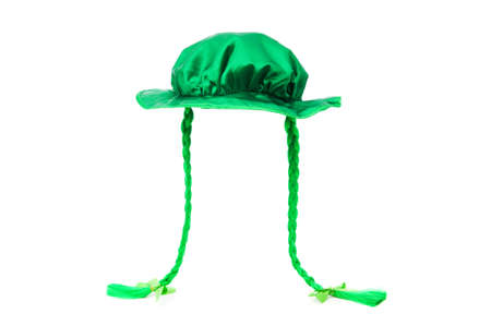 St Patrick day concept with green hat on white photo