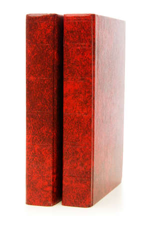 Leather-bound books isolated on the white background photo