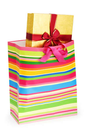 Striped gift bag isolated on the white background Stock Photo - 7189676