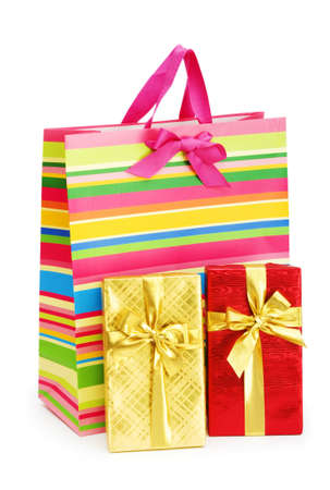 Striped gift bag isolated on the white background Stock Photo - 7229025
