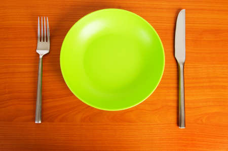 diners: Set of utensils arranged on the table Stock Photo